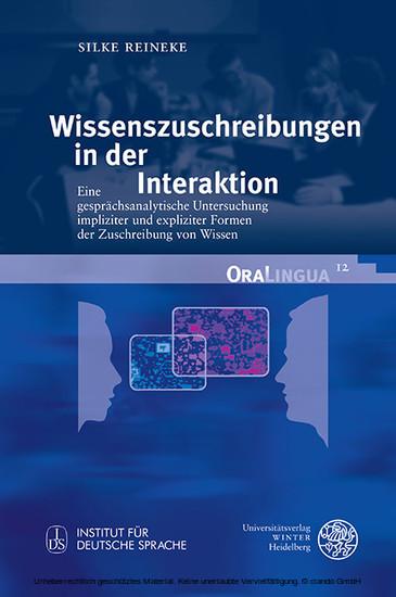 Wissenszuschreibungen in der Interaktion - Blick ins Buch