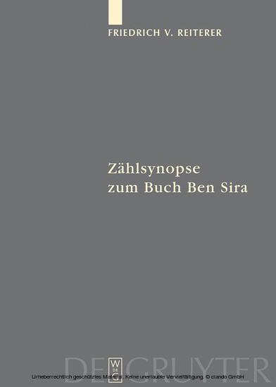 Zählsynopse zum Buch Ben Sira - Blick ins Buch