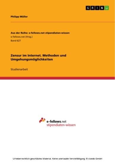 Zensur im Internet. Methoden und Umgehungsmöglichkeiten - Blick ins Buch