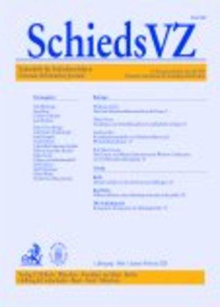 Zeitschrift für Schiedsverfahren (SchiedsVZ)