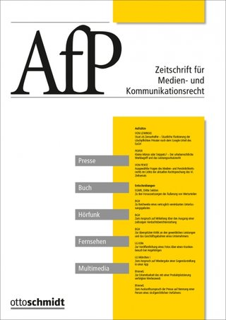 AfP Zeitschrift für Medien- und Kommunikationsrecht