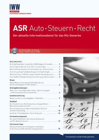 ASR Auto · Steuern · Recht