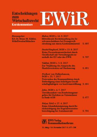 EWiR - Entscheidungen zum Wirtschaftsrecht
