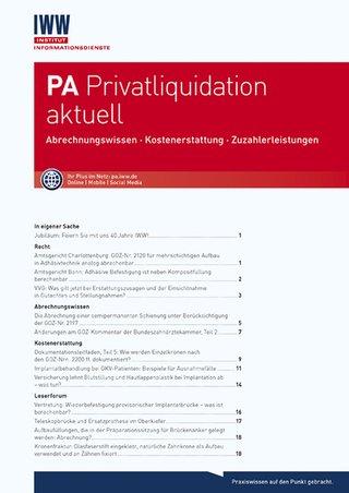 PA Privatliquidation aktuell