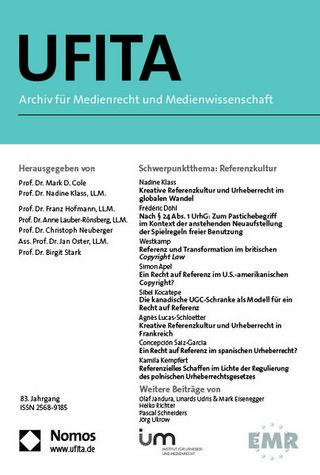 UFITA - Archiv für Medienrecht und Medienwissenschaft