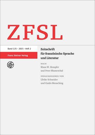 Zeitschrift für franzoesische Sprache und Literatur