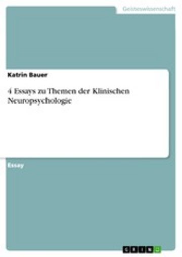 eBook 4 Essays zu Themen der Klinischen Neuropsychologie Cover