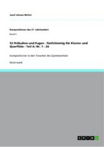 eBook 52 Präludien und Fugen - fünfstimmig für Klavier und Querflöte - Teil A: Nr. 1 - 26 Cover