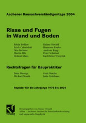 eBook Aachener Bausachverständigentage 2004 Cover