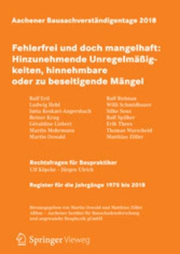 eBook Aachener Bausachverständigentage 2018 Cover