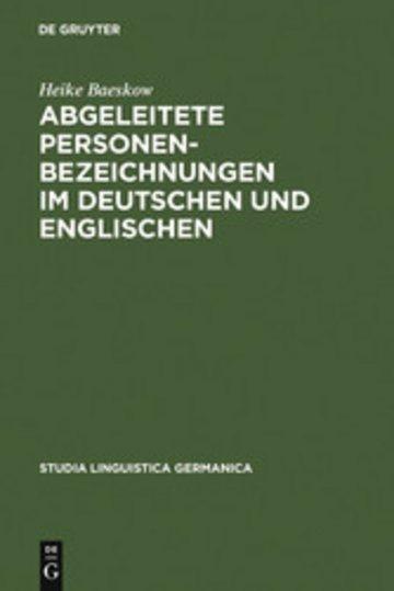 eBook Abgeleitete Personenbezeichnungen im Deutschen und Englischen Cover