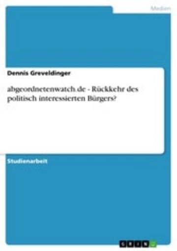eBook abgeordnetenwatch.de - Rückkehr des politisch interessierten Bürgers? Cover
