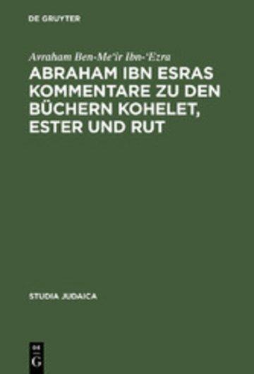 eBook Abraham ibn Esras Kommentare zu den Büchern Kohelet, Ester und Rut Cover