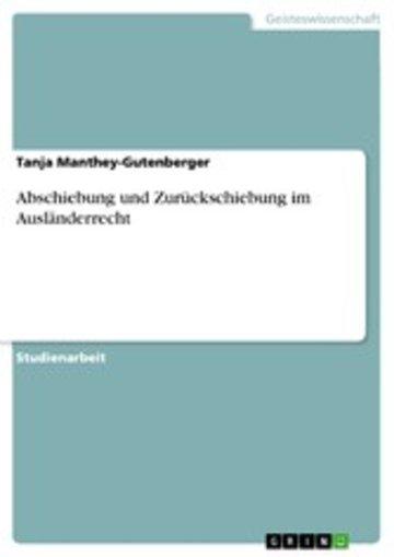 eBook Abschiebung und Zurückschiebung im Ausländerrecht Cover