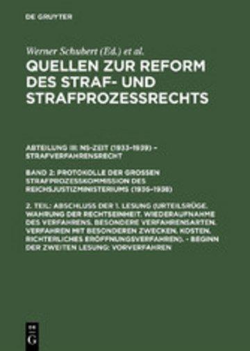 eBook Abschluß der 1. Lesung (Urteilsrüge. Wahrung der Rechtseinheit. ...). - Beginn der zweiten Lesung: Vorverfahren Cover
