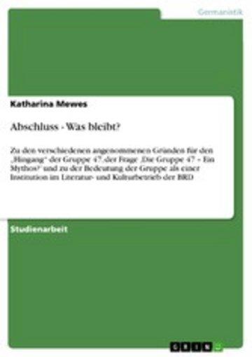 eBook Abschluss - Was bleibt? Cover