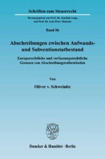 eBook Abschreibungen zwischen Aufwands- und Subventionstatbestand. Cover