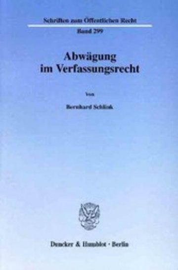 eBook Abwägung im Verfassungsrecht. Cover