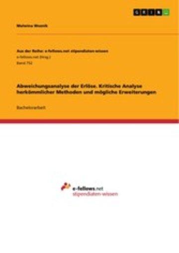 eBook Abweichungsanalyse der Erlöse. Kritische Analyse herkömmlicher Methoden und mögliche Erweiterungen Cover