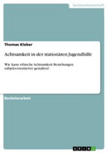 eBook Achtsamkeit in der stationären Jugendhilfe Cover