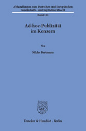 eBook Ad-hoc-Publizität im Konzern. Cover
