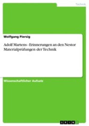 eBook Adolf Martens - Erinnerungen an den Nestor Materialprüfungen der Technik Cover