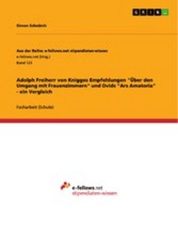 eBook Adolph Freiherr von Knigges Empfehlungen 'Über den Umgang mit Frauenzimmern' und Ovids 'Ars Amatoria' - ein Vergleich Cover