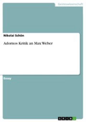 eBook Adornos Kritik an Max Weber Cover