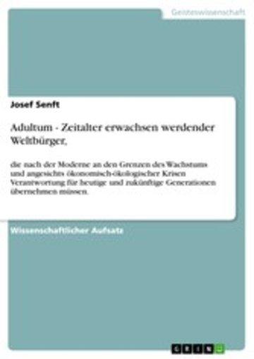 eBook Adultum - Zeitalter erwachsen werdender Weltbürger, Cover