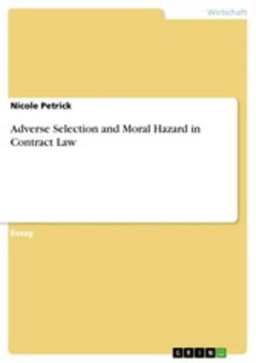 eBook Adverse Selection and Moral Hazard in Contract Law Cover