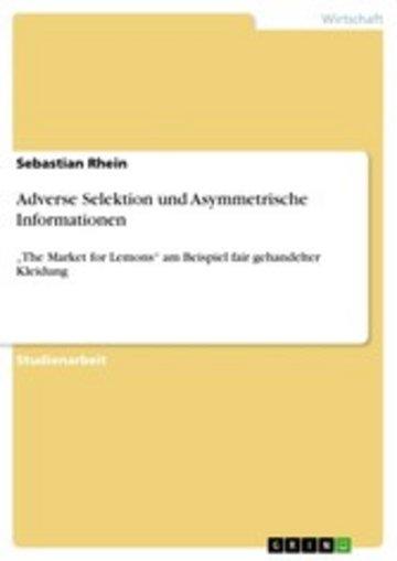 eBook Adverse Selektion und Asymmetrische Informationen Cover