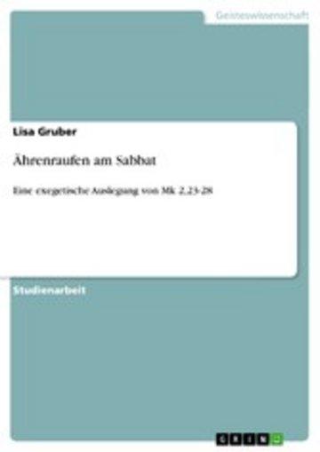 eBook Ährenraufen am Sabbat Cover