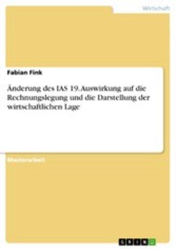eBook Änderung des IAS 19. Auswirkung auf die Rechnungslegung und die Darstellung der wirtschaftlichen Lage Cover