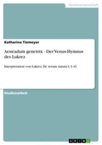 eBook Aeneadum genetrix - Der Venus-Hymnus des Lukrez Cover