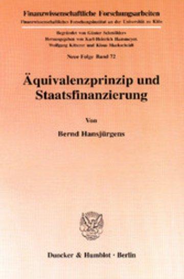 eBook Äquivalenzprinzip und Staatsfinanzierung. Cover