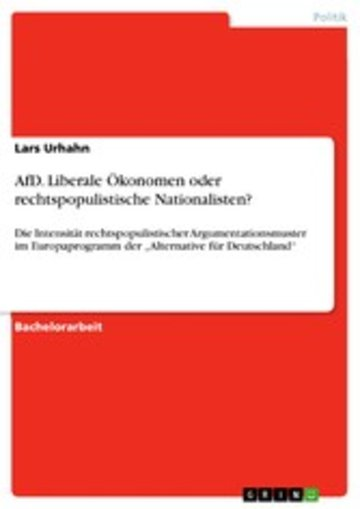 eBook AfD. Liberale Ökonomen oder rechtspopulistische Nationalisten? Cover