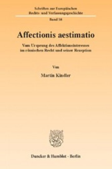 eBook Affectionis aestimatio. Cover