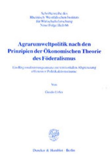 eBook Agrarumweltpolitik nach den Prinzipien der Ökonomischen Theorie des Föderalismus. Cover
