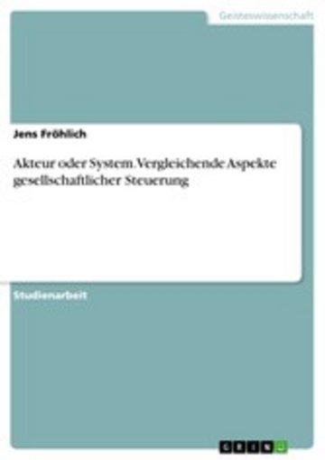 eBook Akteur oder System. Vergleichende Aspekte gesellschaftlicher Steuerung Cover