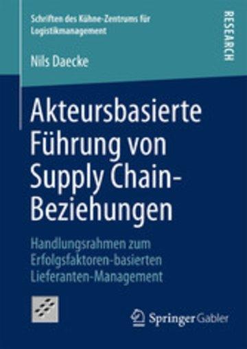 eBook Akteursbasierte Führung von Supply Chain-Beziehungen Cover