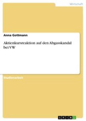 eBook Aktienkursreaktion auf den Abgasskandal bei VW Cover