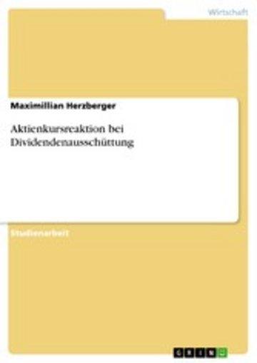 eBook Aktienkursreaktion bei Dividendenausschüttung Cover
