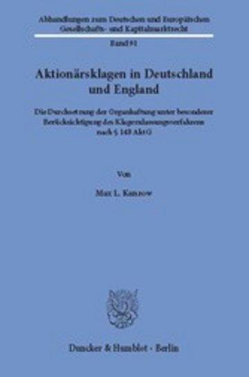 eBook Aktionärsklagen in Deutschland und England. Cover