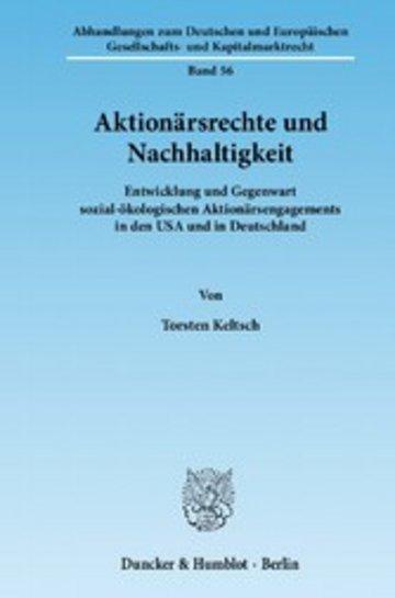 eBook Aktionärsrechte und Nachhaltigkeit. Cover