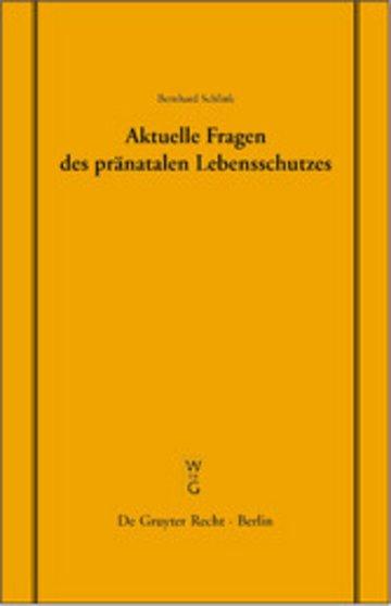eBook Aktuelle Fragen des pränatalen Lebensschutzes Cover