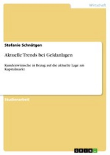 eBook Aktuelle Trends bei Geldanlagen Cover