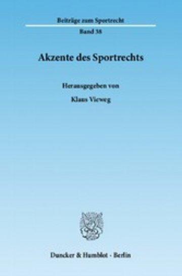 eBook Akzente des Sportrechts. Cover