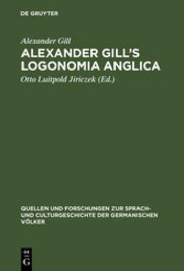 eBook Alexander Gill's Logonomia Anglica Cover