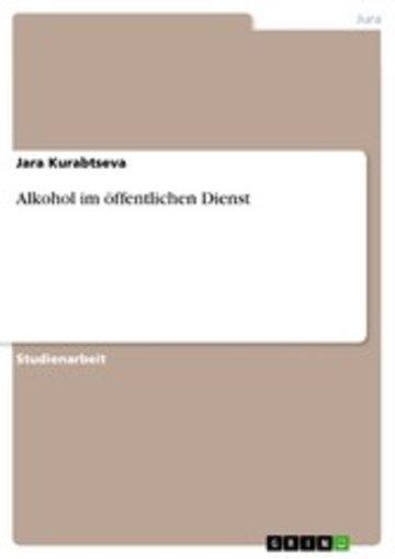 eBook Alkohol im öffentlichen Dienst Cover