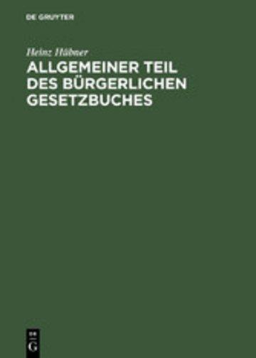 eBook Allgemeiner Teil des Bürgerlichen Gesetzbuches Cover